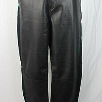 Rag & Bone / Jean Black Lambskin Leather Linen Blend Slim Leg Pant Size 29 / 8 Photo