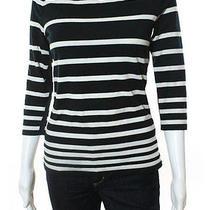Rag & Bone/knit Blue White 3/4 Sleeve Crew Neck Striped Tee Shirt Sz S Photo