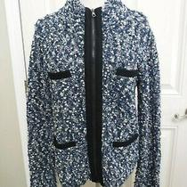 Rag & Bone M Blue Boucle Knit Black Leather Wool Zip Cardigan Sweater Jacket Top Photo