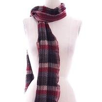 Rag & Bone Maroon Red Grey Wool Crinkled Knit Scarf Photo