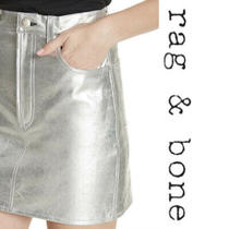 Rag & Bone Moss High Waist Metallic Silver Lamb Leather Crinkle Mini Skirt Sz 26 Photo