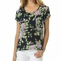 Rag & Bone Pocket Navy Floral Silk Georgette Top Blouse Photo