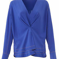 Rag & Bone Womens Blouse Blue Size Small S Inverted-Pleat v-Neck Silk 395- 016 Photo