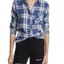 Rails Womens Hunter Plaid Shirt in Ocean Blush Cloud Wash Blue Sz S Flannel Photo