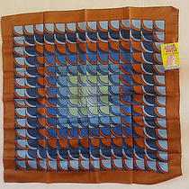 Rain & Shine Blue Brown Scarf Water Repellent Geometric  New With Tags 28