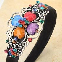 Rainbow Gem Clover Floral Scroll Black Headwear Hair Head Band Swarovski Crystal Photo