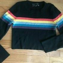 Rainbow Stripe Cropped Sweater Size Large Ribbed by Blue Blush Photo