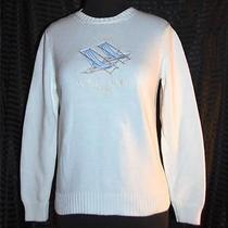 Ralph Lauren 100% Cotton Pullover Sweater White With Beach Chairs Embroidery S Photo