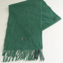 Ralph Lauren 100% Lambs Wool Scarf Heather Green With Polo Player Osfa Nwt Photo