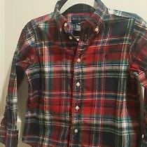 Ralph Lauren 4t Blue Red  Plaid Button Down Dress Shirt  Photo