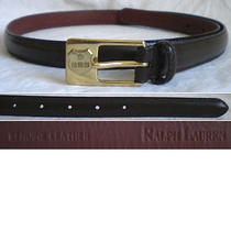 Ralph Lauren Belt Skinny Brown Leather Gold Women's Large L (32) Photo
