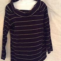 Ralph Lauren Black Cowl Neck Top Gold Stripes Size Xl Photo