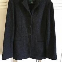 Ralph Lauren Black Ivory Herringbone 100% Lambs Wool 4 Button Blazer Jacket Sz 6 Photo