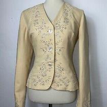 Ralph Lauren Black Label Sz 6 Beige Pearl Beaded Embroidered Cotton Linen Blazer Photo
