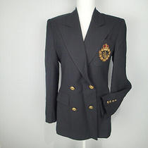 Ralph Lauren Blazerladies Suit Jacketsz 6woolcrestgold Buttons Black Career Photo