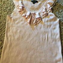 Ralph Lauren Blouse Xl Blush Pink Silk Knit Ruffled Soft Sleeveless Blouse Photo