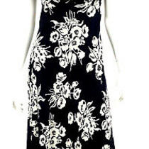 Ralph Lauren Blue Label Navy & White Floral Silk Georgette Maxi Dress 4 Photo