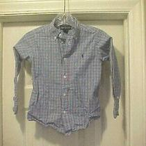 Ralph Lauren Boys Button Down Shirt Blue Plaid Long Sleeve Size 6 100% Cotton Photo