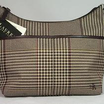 Ralph Lauren Brown Houndstooth Tweed Signature Plaid Purse W/leather Trim Hobo Photo