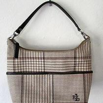 Ralph Lauren Brown Houndstooth Tweed Signature Plaid Small Hobo Purse Photo