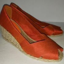 Ralph Lauren Burnt Orange Silk Shantung Peeptoe Espadrille Wedge Heels 9 Photo