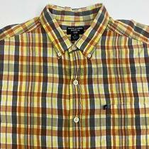 Ralph Lauren Button Up Shirt Mens Xl Yellow Orange Blue 100% Cotton Plaid Pocket Photo