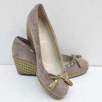 Ralph Lauren Cambree Sable Braided Gold Wedge Pump Heel Shoes 7 Photo