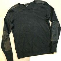 Ralph Lauren Charcoal Knit L/s Round Neck Pullover/ Leather Elbow Patches S Xl Photo