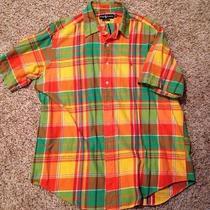 Ralph Lauren Classic Fit  Xl Button Down Short Sleeve Bright Color Plaid Cotton Photo