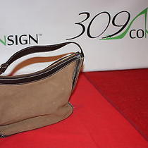 Ralph Lauren Cognac Dark Brown Medium Leather Suede Handbag Bag Purse Satchel Photo