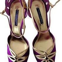 Ralph Lauren Collection Purple Satine Gold Leather Sandals Shoes Heel Size Us10 Photo