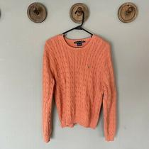 Ralph Lauren Coral or Age Cableknit Crewneck Pullover Sweater Womens Size Xl Photo