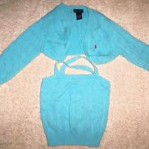 Ralph Lauren Girl's Aqua Cardigan Set Med  Photo