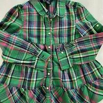 Ralph Lauren Girls Blouse Shirt Top Plaid Green Pink Long Sleeve Size 6x Photo
