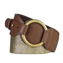 Ralph Lauren Gold Brown O-Ring Metallic Stretch Belt Size L Retail 48 Photo