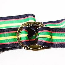 Ralph Lauren Gold Ringed Striped Fabric Belt One Size Fits Many Photo