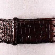 Ralph Lauren Gold Wash Brown Faux Leather Stretch Wide Belt M 412197261 P34  Photo