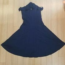 Ralph Lauren Halter Dress Navy Blue Gold Chain Fitted Bodice Wide Skirt Size 4 Photo