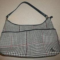 Ralph Lauren Houndstooth Plaid Canvas Brown Trim Tote Bag Purse Hobo Bag Photo