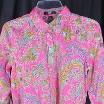 Ralph Lauren L Blouse Pink Paisley 3/4 Sleeve 100% Cotton Career Bright Colors Photo