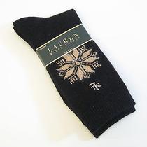 Ralph Lauren Ladies Socks Angora Wool Blend Snowflake Black Gold - New Photo