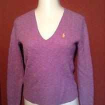 Ralph Lauren Lambs Wool Purple v Neck Sweater Size Medium Photo