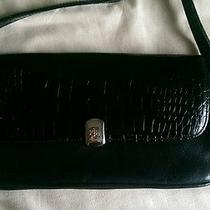 Ralph Lauren  Large Clutch Crossbody Bag Croc Black Leather  Photo