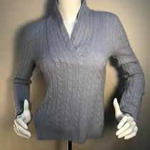 Ralph Lauren Lt Blue Cashmere Cable Knit Shawl-Neck Long Sleeve Sweater Size M Photo