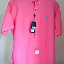 Ralph Lauren Mens Short Sleeve Cotton Shirt Pink New W/tag 85 Sz L Photo