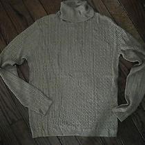 Ralph Lauren Metallic Gold Cable Turtleneck Sweater     Size Large Photo