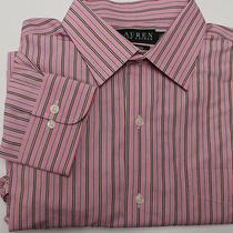 Ralph Lauren Non-Iron Men's Dress Shirt Sz 16.5 32/33 L Large Pink Striped Photo