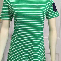 Ralph Lauren Nwt 3x Green & White Striped Knit Top Sleeve Pocket  45  Photo