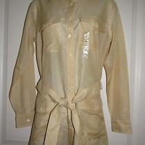 Ralph Laurennwt 89  Gold Semi-Sheer Long Sleeve Tunic Blouse W/belt  S  New Photo