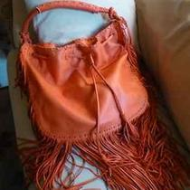 Ralph Lauren Orange Fringe Drawstring Fringe Hobo Handbag 1250 Photo